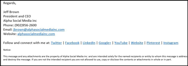 Social media in email signature